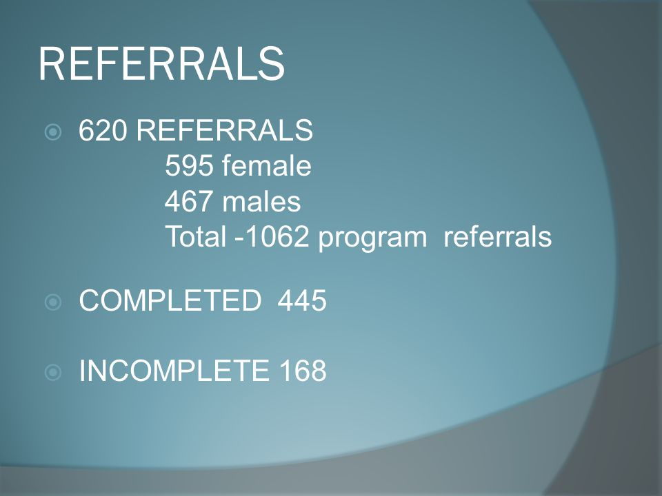 REFERRALS  620 REFERRALS 595 female 467 males Total -1062 program referrals  COMPLETED 445  INCOMPLETE 168