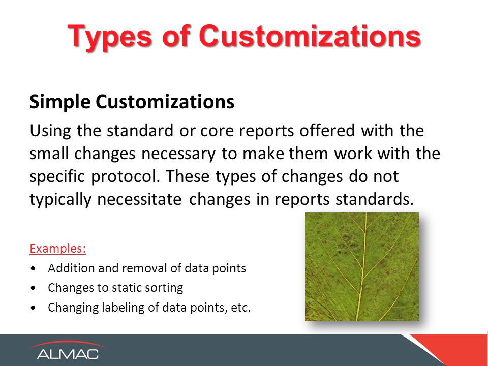 Types of Customizations Simple Customizations Using the standard or core reports offered with the small changes necessary to make them work with the specific protocol.