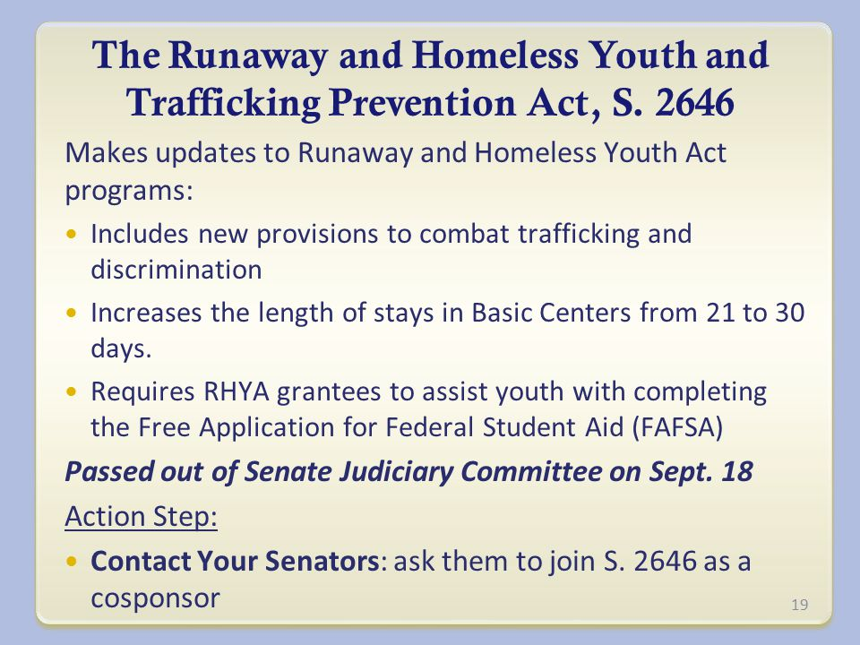 The Runaway and Homeless Youth and Trafficking Prevention Act, S.