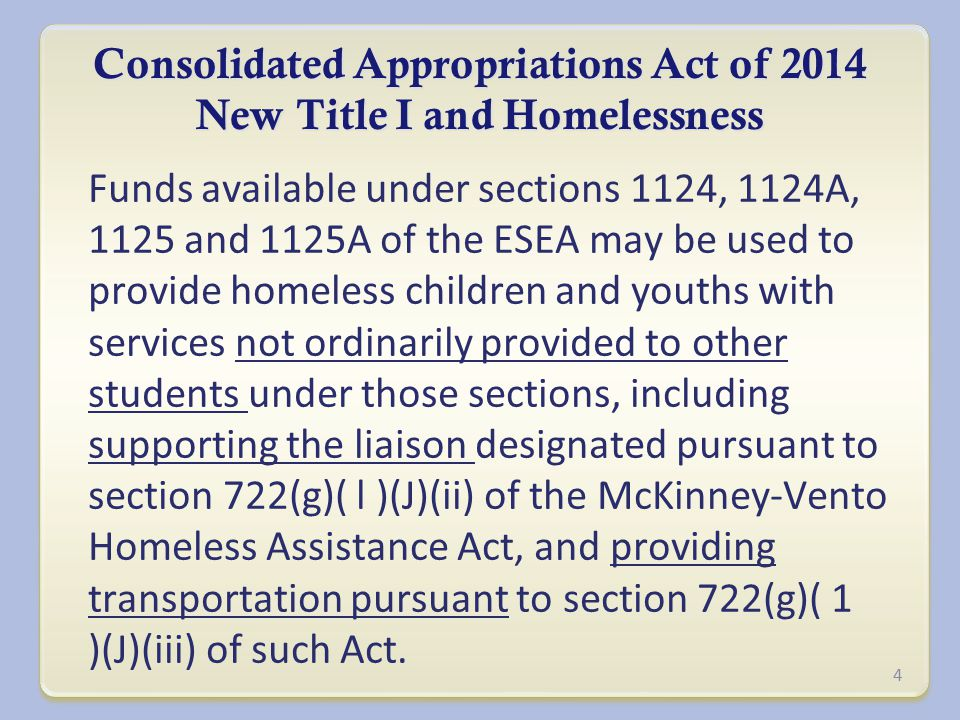 Consolidated Appropriations Act of 2014 New Title I and Homelessness Funds available under sections 1124, 1124A, 1125 and 1125A of the ESEA may be used to provide homeless children and youths with services not ordinarily provided to other students under those sections, including supporting the liaison designated pursuant to section 722(g)( l )(J)(ii) of the McKinney-Vento Homeless Assistance Act, and providing transportation pursuant to section 722(g)( 1 )(J)(iii) of such Act.