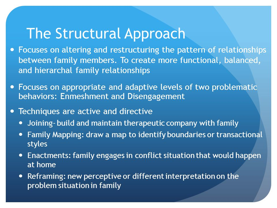 The Structural Approach Focuses on altering and restructuring the pattern of relationships between family members.
