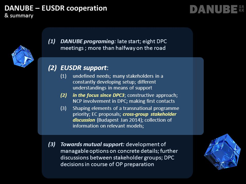 DANUBE 2014 2020 DANUBE – EUSDR cooperation & summary (1)DANUBE programing: late start; eight DPC meetings ; more than halfway on the road (2)EUSDR su