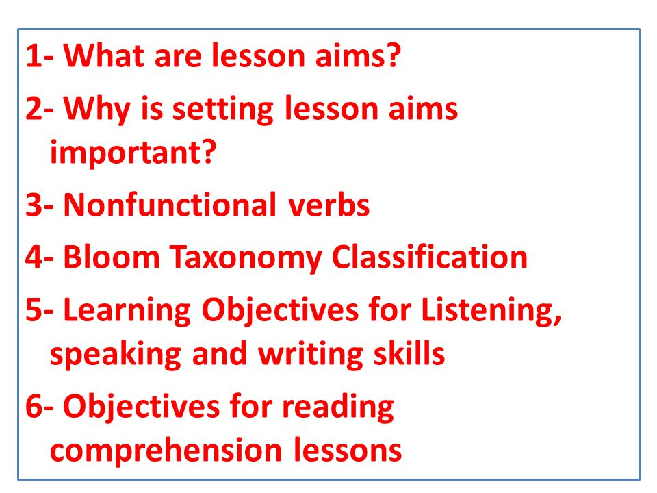 1-What are lesson aims.