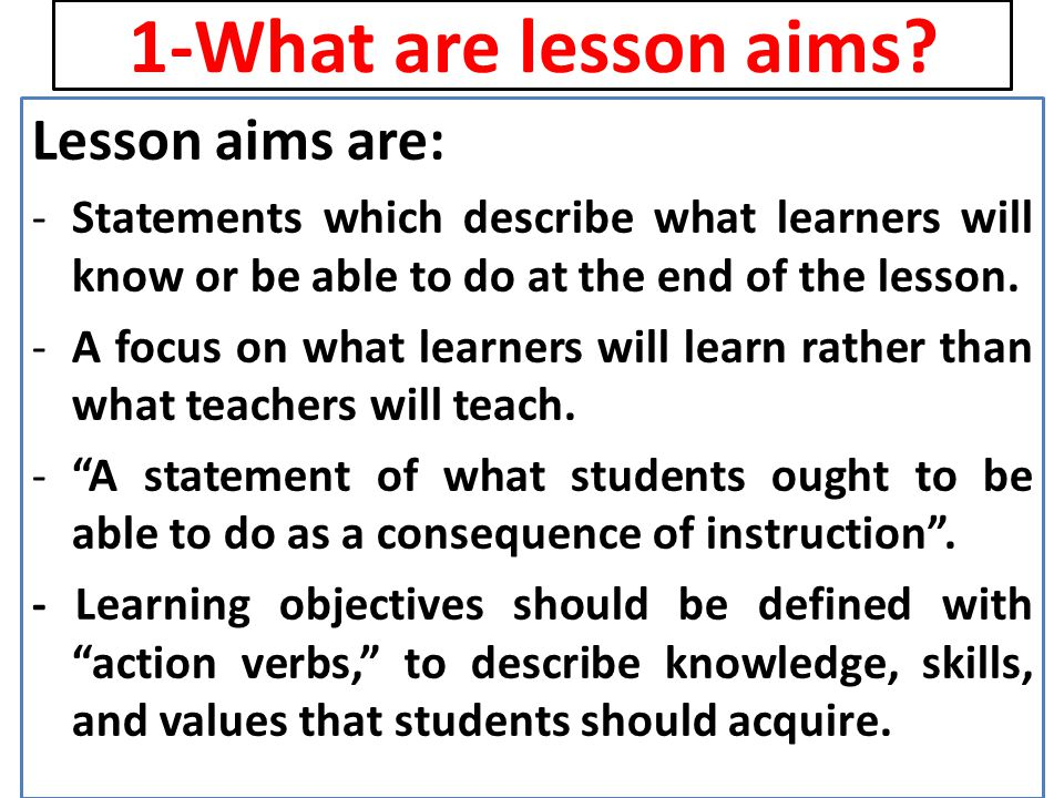 2-Why setting lesson aims is important.