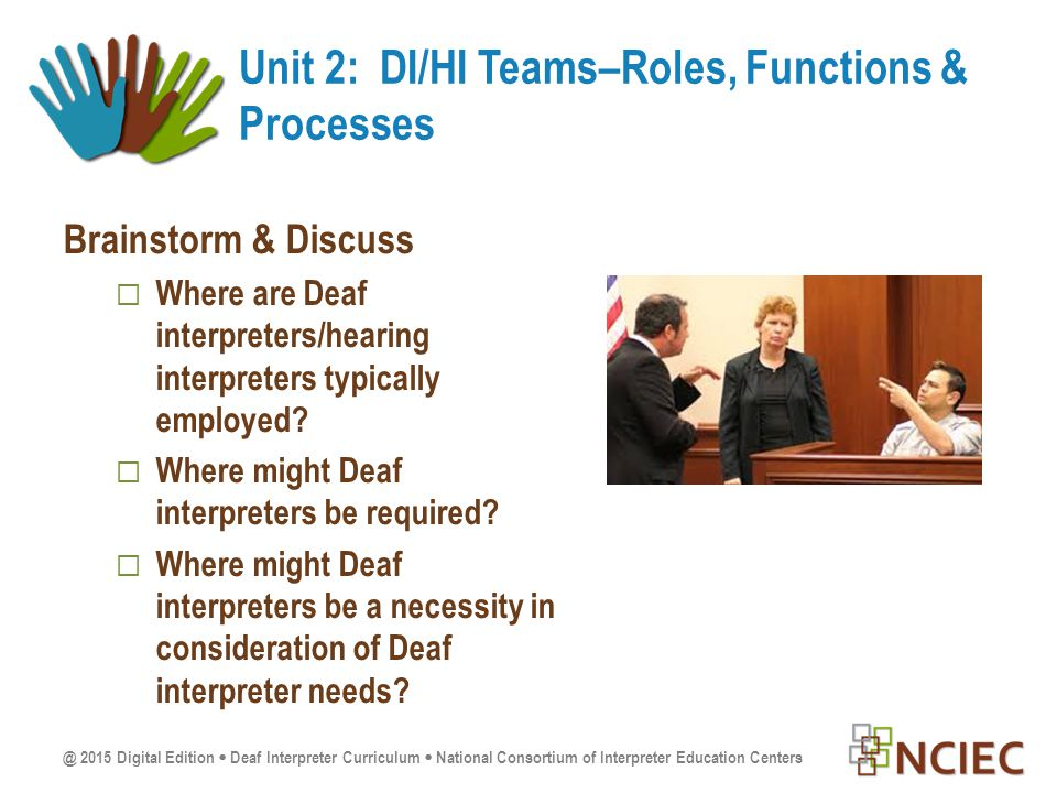 @ 2015 Digital Edition  Deaf Interpreter Curriculum  National Consortium of Interpreter Education Centers Brainstorm & Discuss  Where are Deaf interpreters/hearing interpreters typically employed.