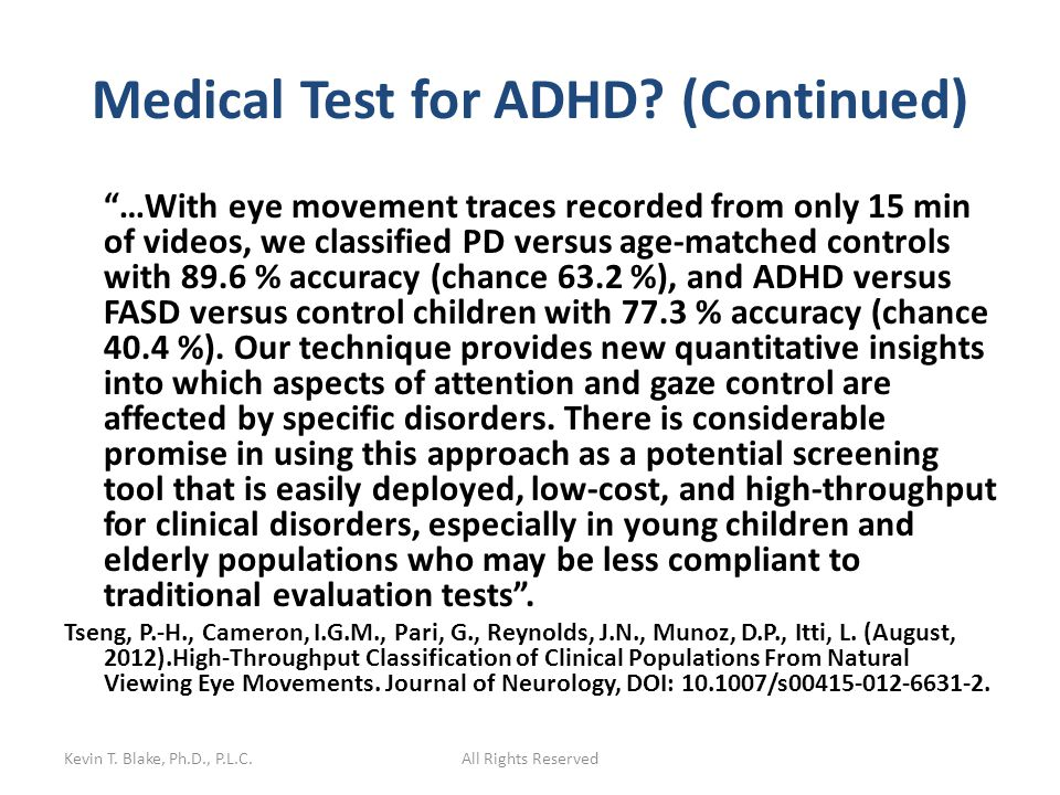 Medical Test for ADHD.