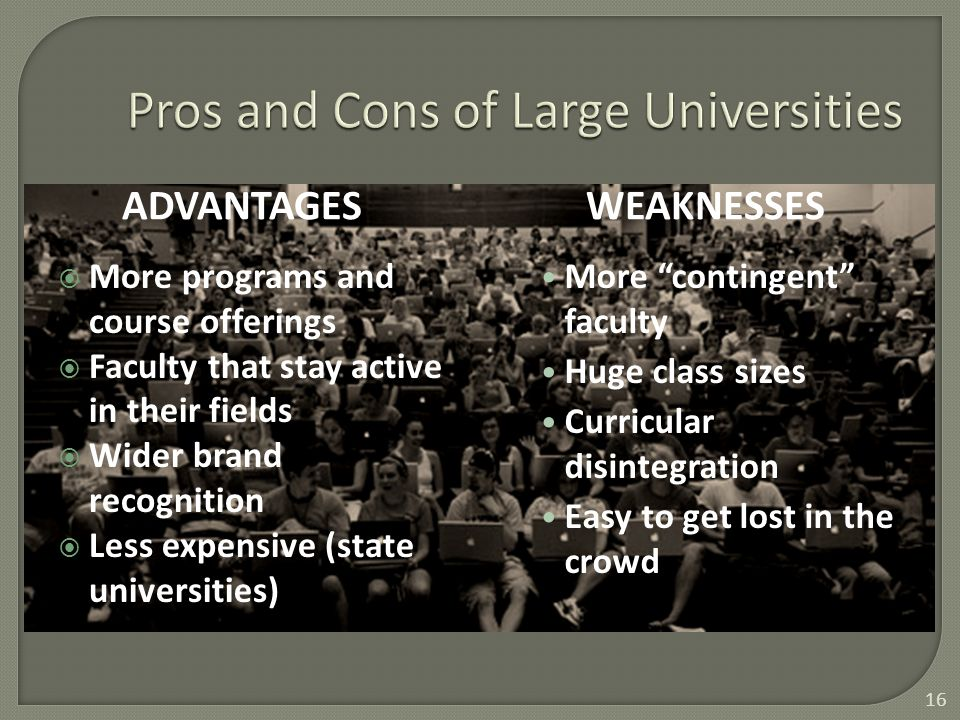 ADVANTAGESWEAKNESSES  More programs and course offerings  Faculty that stay active in their fields  Wider brand recognition  Less expensive (state