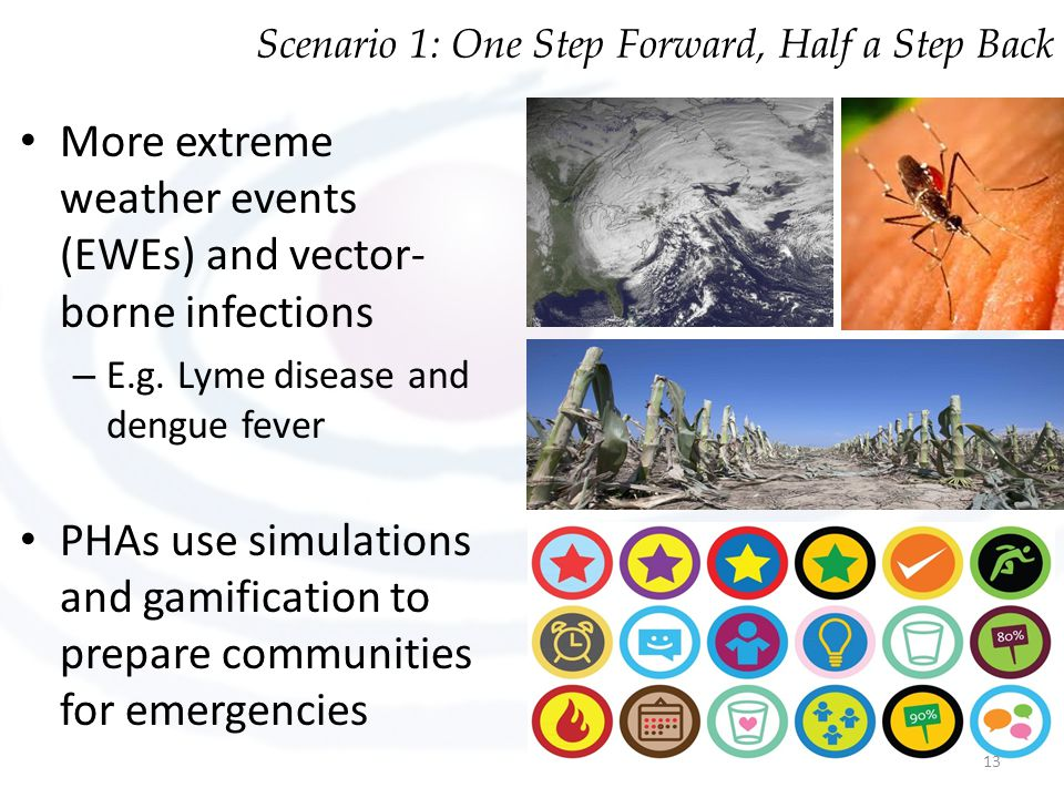 More extreme weather events (EWEs) and vector- borne infections – E.g. Lyme disease and dengue fever PHAs use simulations and gamification to prepare