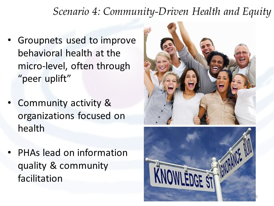 Groupnets used to improve behavioral health at the micro-level, often through peer uplift Community activity & organizations focused on health PHAs lead on information quality & community facilitation Scenario 4: Community-Driven Health and Equity 36