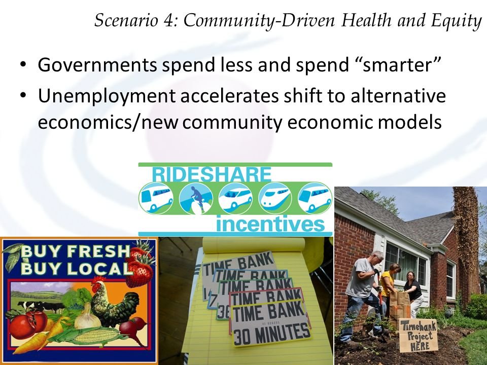 "Governments spend less and spend ""smarter"" Unemployment accelerates shift to alternative economics/new community economic models Scenario 4: Community"
