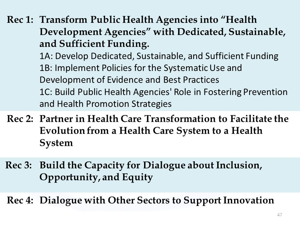 47 Rec 1:Transform Public Health Agencies into Health Development Agencies with Dedicated, Sustainable, and Sufficient Funding.