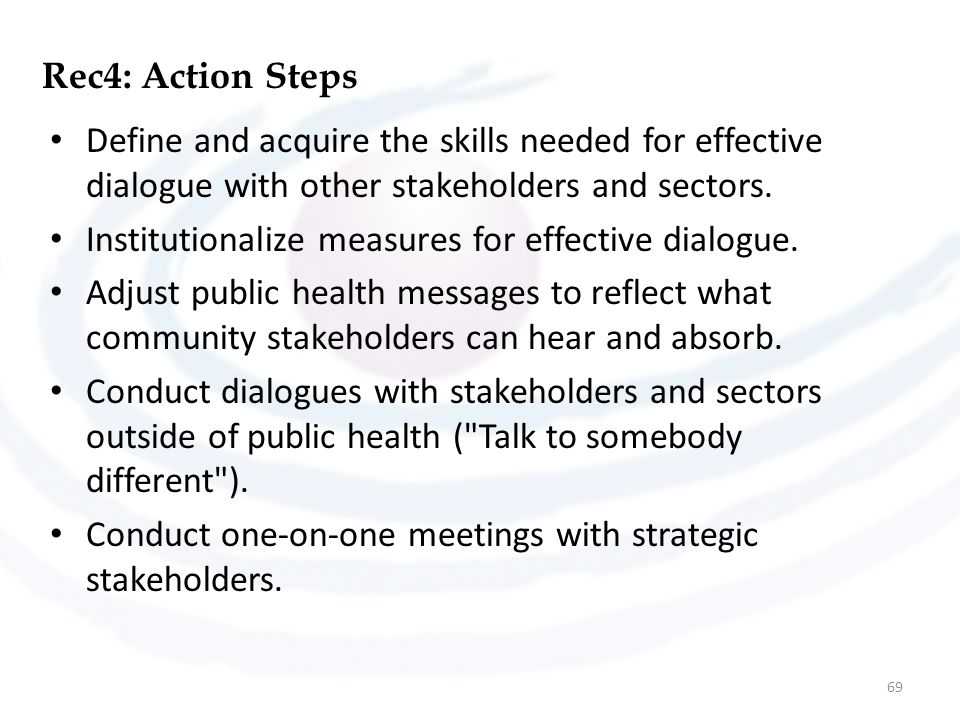 Rec4: Action Steps Define and acquire the skills needed for effective dialogue with other stakeholders and sectors. Institutionalize measures for effe
