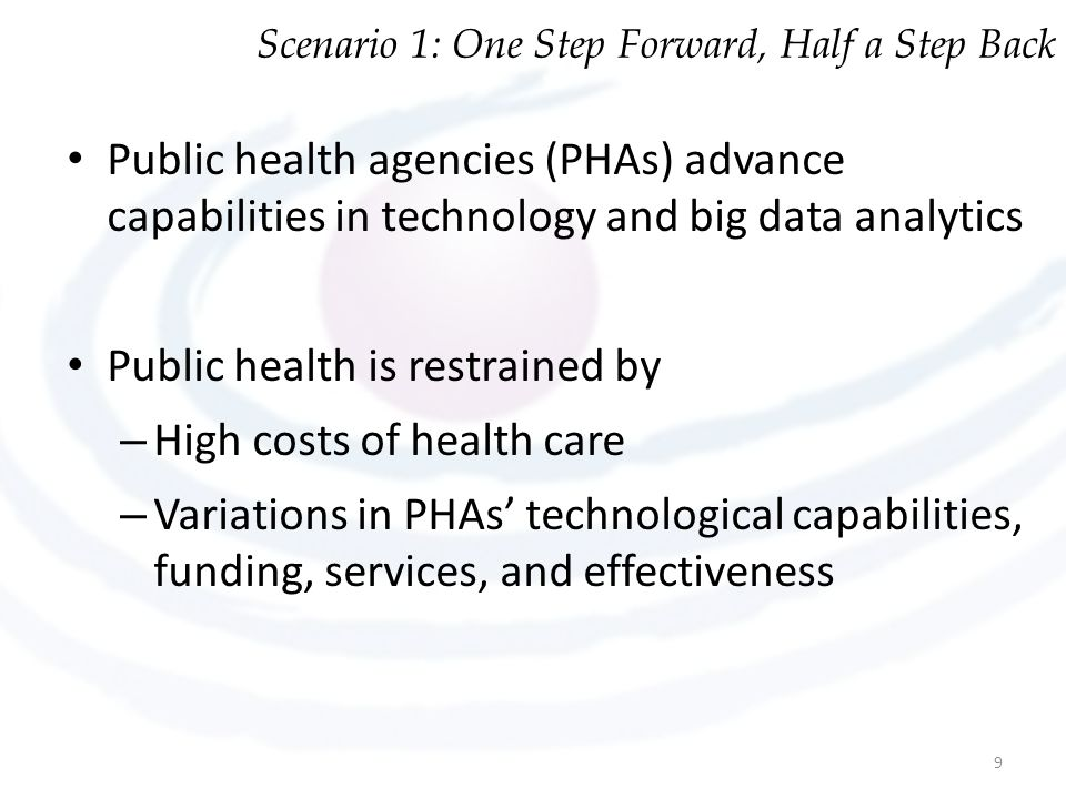 Scenario 1: One Step Forward, Half a Step Back Public health agencies (PHAs) advance capabilities in technology and big data analytics Public health is restrained by – High costs of health care – Variations in PHAs' technological capabilities, funding, services, and effectiveness 9