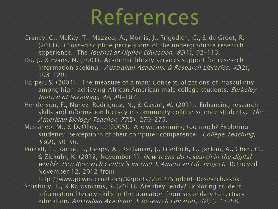 References Craney, C., McKay, T., Mazzeo, A., Morris, J., Prigodich, C., & de Groot, R.