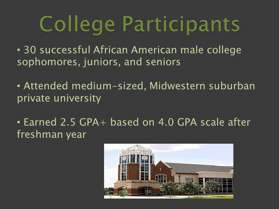 30 successful African American male college sophomores, juniors, and seniors Attended medium-sized, Midwestern suburban private university Earned 2.5 GPA+ based on 4.0 GPA scale after freshman year