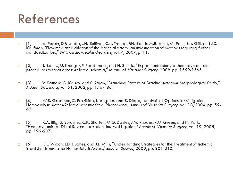 References  [1] A. Peretz, D.F. Leotta, J.H. Sullivan, C.a.