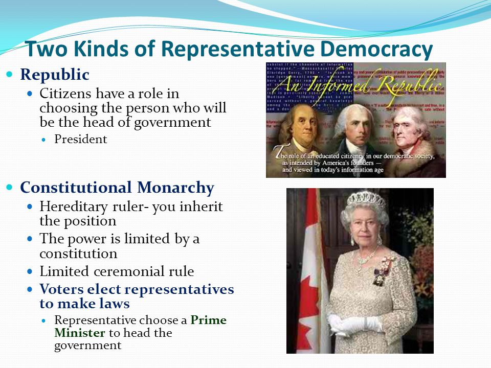 Two Kinds of Representative Democracy Republic Citizens have a role in choosing the person who will be the head of government President Constitutional Monarchy Hereditary ruler- you inherit the position The power is limited by a constitution Limited ceremonial rule Voters elect representatives to make laws Representative choose a Prime Minister to head the government