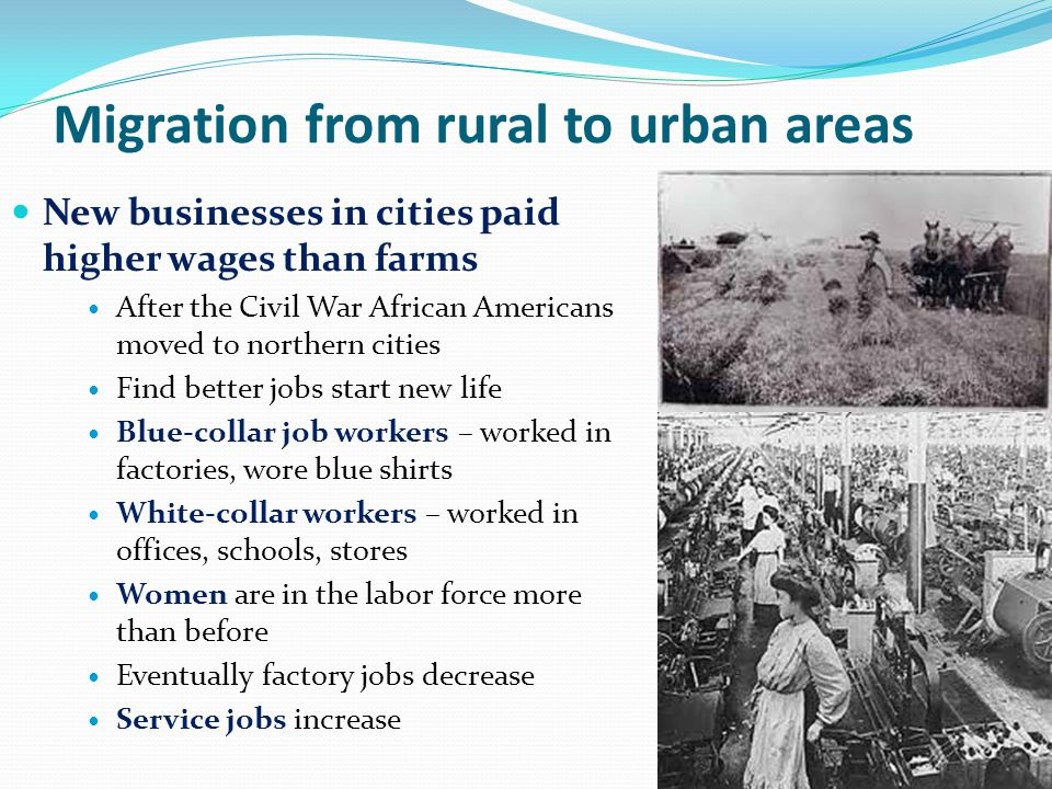 Migration from rural to urban areas New businesses in cities paid higher wages than farms After the Civil War African Americans moved to northern citi