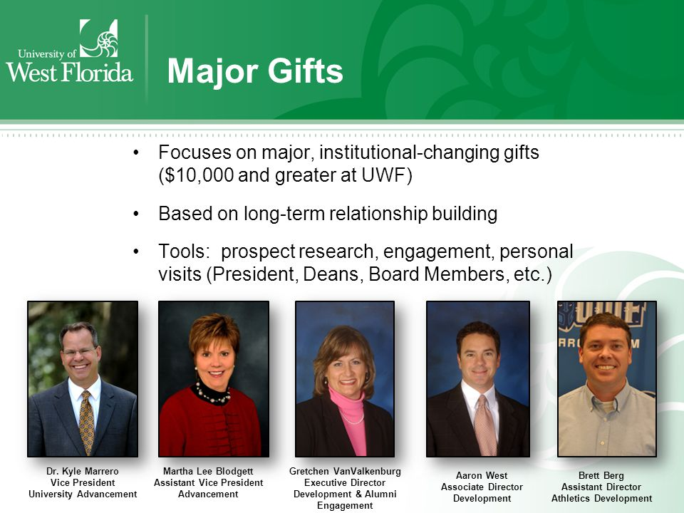 Major Gifts Focuses on major, institutional-changing gifts ($10,000 and greater at UWF) Based on long-term relationship building Tools: prospect research, engagement, personal visits (President, Deans, Board Members, etc.) Dr.