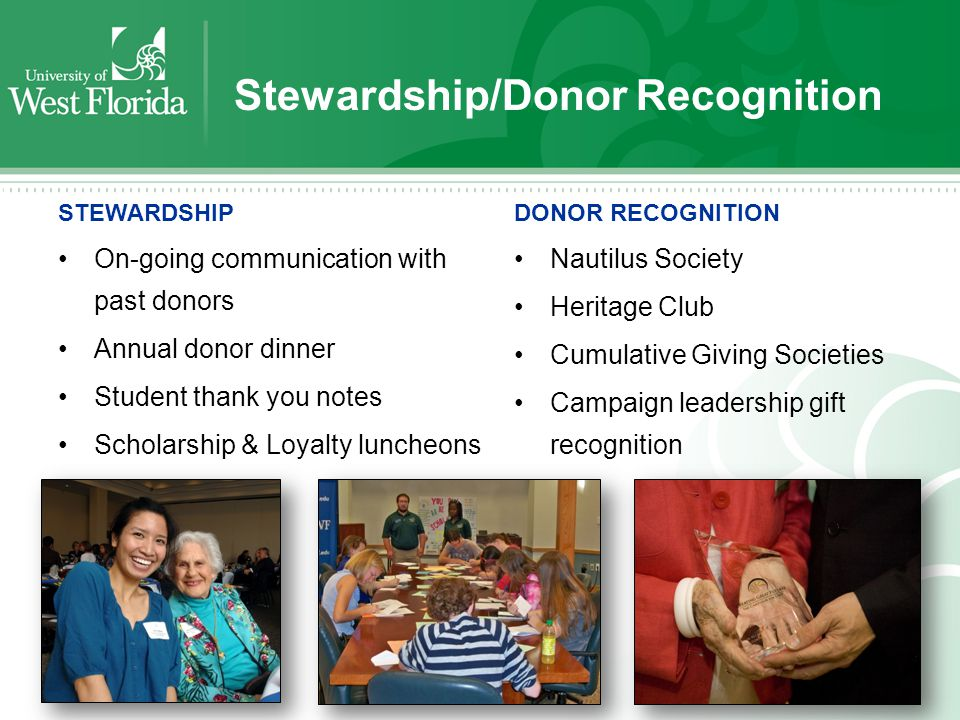 Stewardship/Donor Recognition STEWARDSHIP On-going communication with past donors Annual donor dinner Student thank you notes Scholarship & Loyalty luncheons DONOR RECOGNITION Nautilus Society Heritage Club Cumulative Giving Societies Campaign leadership gift recognition