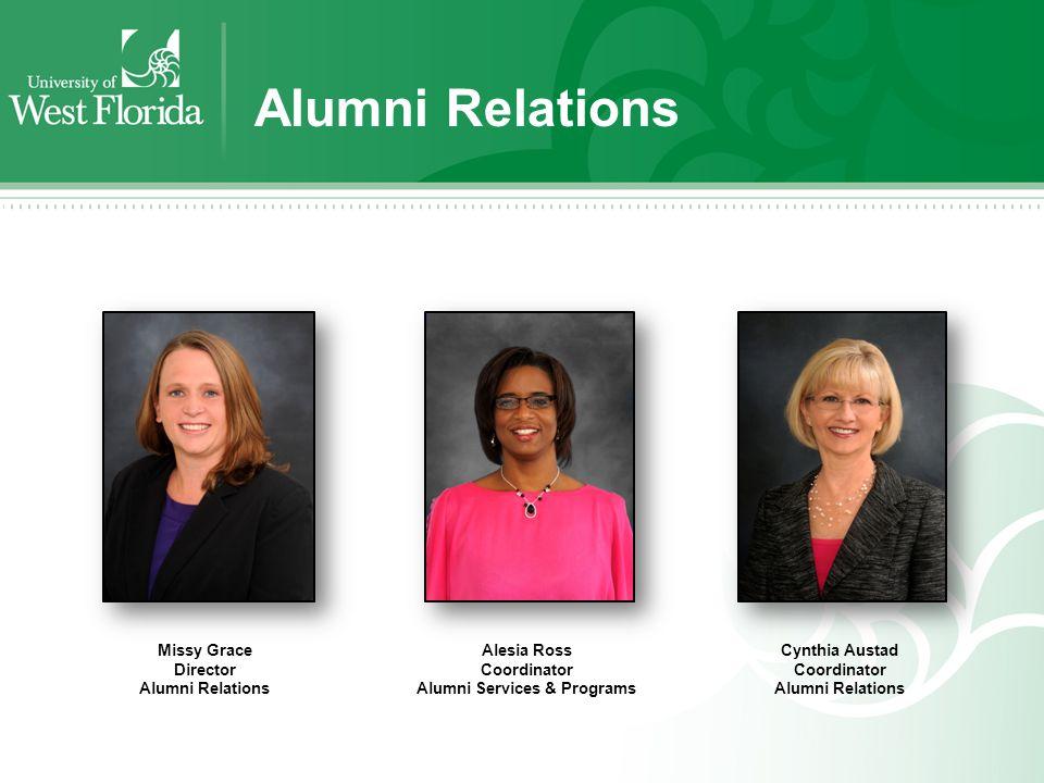 Alumni Relations Missy Grace Director Alumni Relations Alesia Ross Coordinator Alumni Services & Programs Cynthia Austad Coordinator Alumni Relations