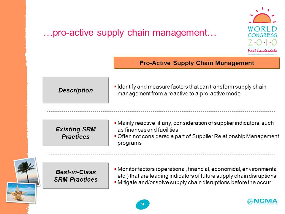 …pro-active supply chain management… Description Existing SRM Practices Pro-Active Supply Chain Management  Identify and measure factors that can transform supply chain management from a reactive to a pro-active model  Mainly reactive, if any, consideration of supplier indicators, such as finances and facilities  Often not considered a part of Supplier Relationship Management programs Best-in-Class SRM Practices  Monitor factors (operational, financial, economical, environmental etc.) that are leading indicators of future supply chain disruptions  Mitigate and/or solve supply chain disruptions before the occur 9