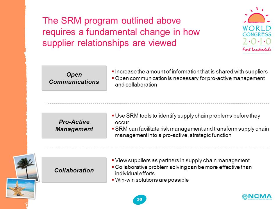 The SRM program outlined above requires a fundamental change in how supplier relationships are viewed Open Communications Pro-Active Management  Increase the amount of information that is shared with suppliers  Open communication is necessary for pro-active management and collaboration  Use SRM tools to identify supply chain problems before they occur  SRM can facilitate risk management and transform supply chain management into a pro-active, strategic function Collaboration  View suppliers as partners in supply chain management  Collaborative problem solving can be more effective than individual efforts  Win-win solutions are possible 30