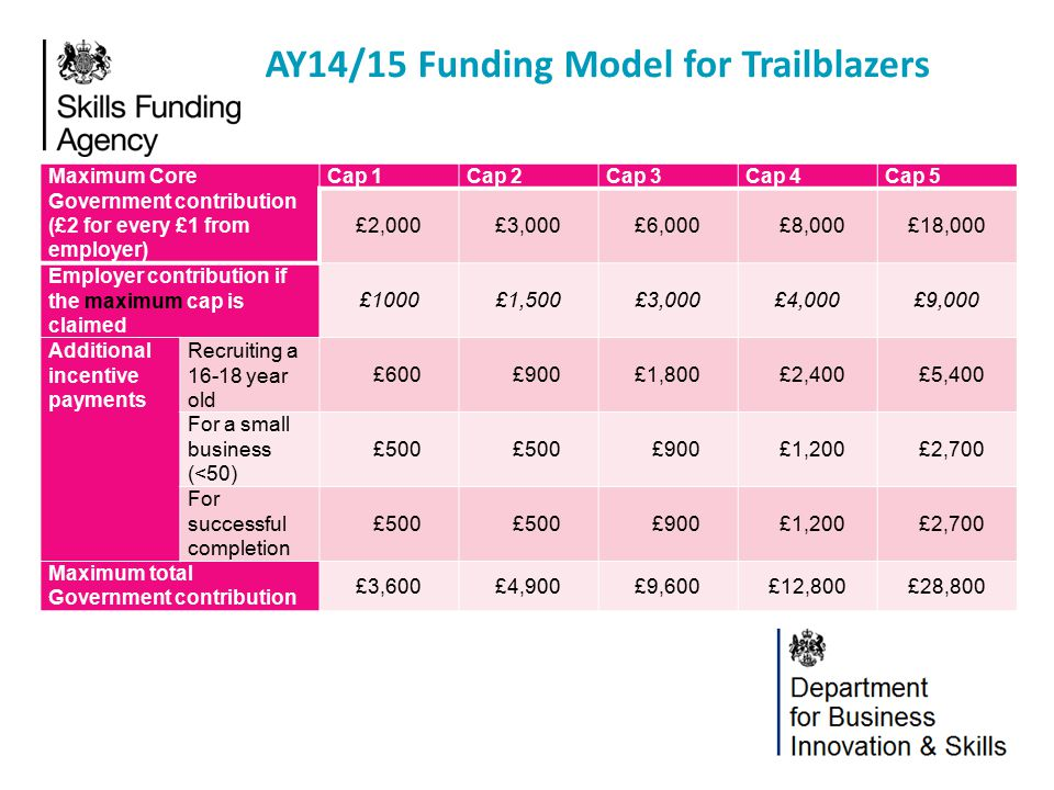 AY14/15 Funding Model for Trailblazers Maximum Core Government contribution (£2 for every £1 from employer) Cap 1Cap 2Cap 3Cap 4Cap 5 £2,000£3,000£6,0