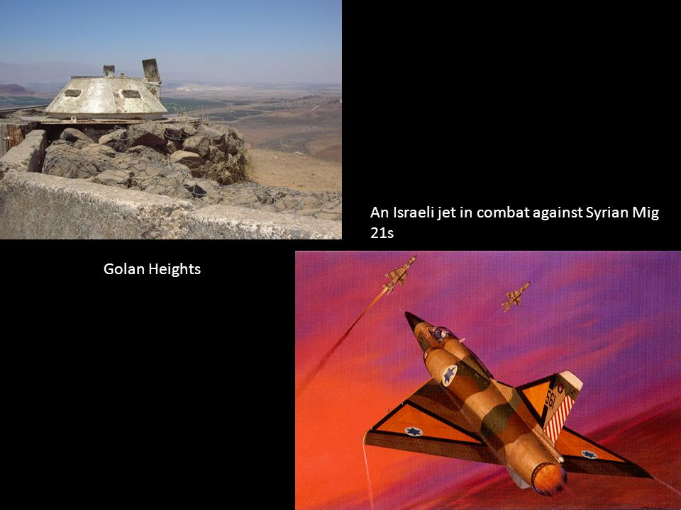 Golan Heights An Israeli jet in combat against Syrian Mig 21s