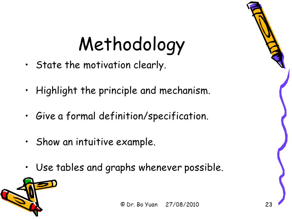 23 Methodology State the motivation clearly.Highlight the principle and mechanism.