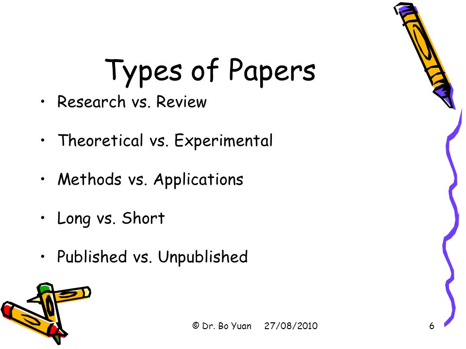 Types of Papers Research vs.Review Theoretical vs.