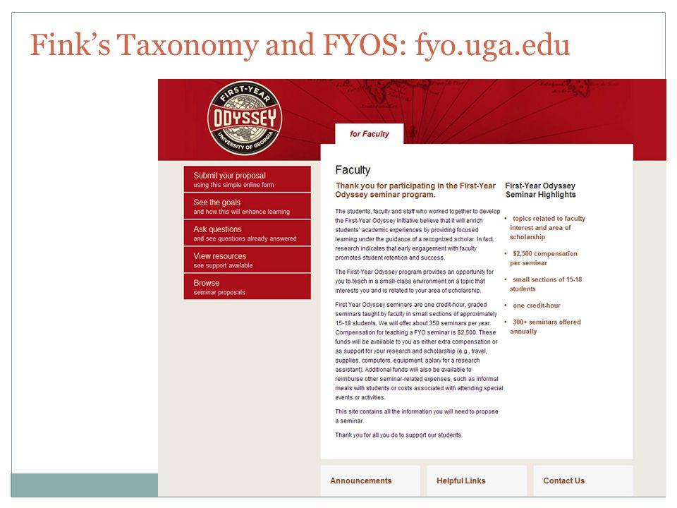 Fink's Taxonomy and FYOS: fyo.uga.edu