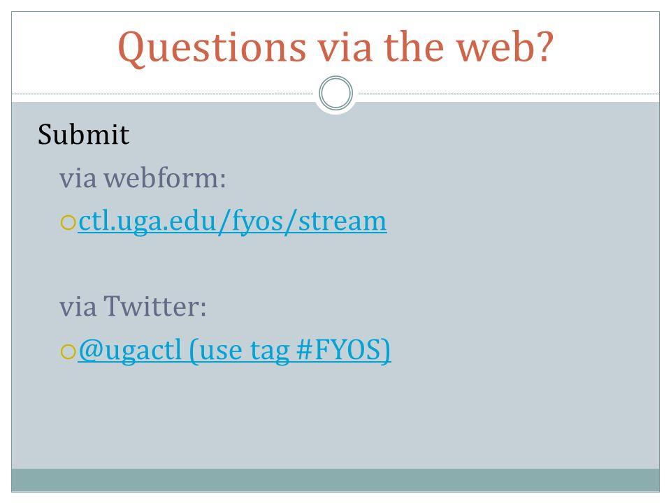 Questions via the web.