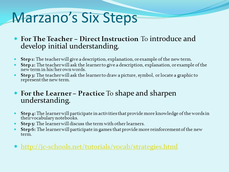 Marzano's Six Steps For The Teacher – Direct Instruction To introduce and develop initial understanding.