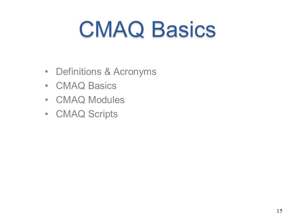 15 CMAQ Basics Definitions & Acronyms CMAQ Basics CMAQ Modules CMAQ Scripts