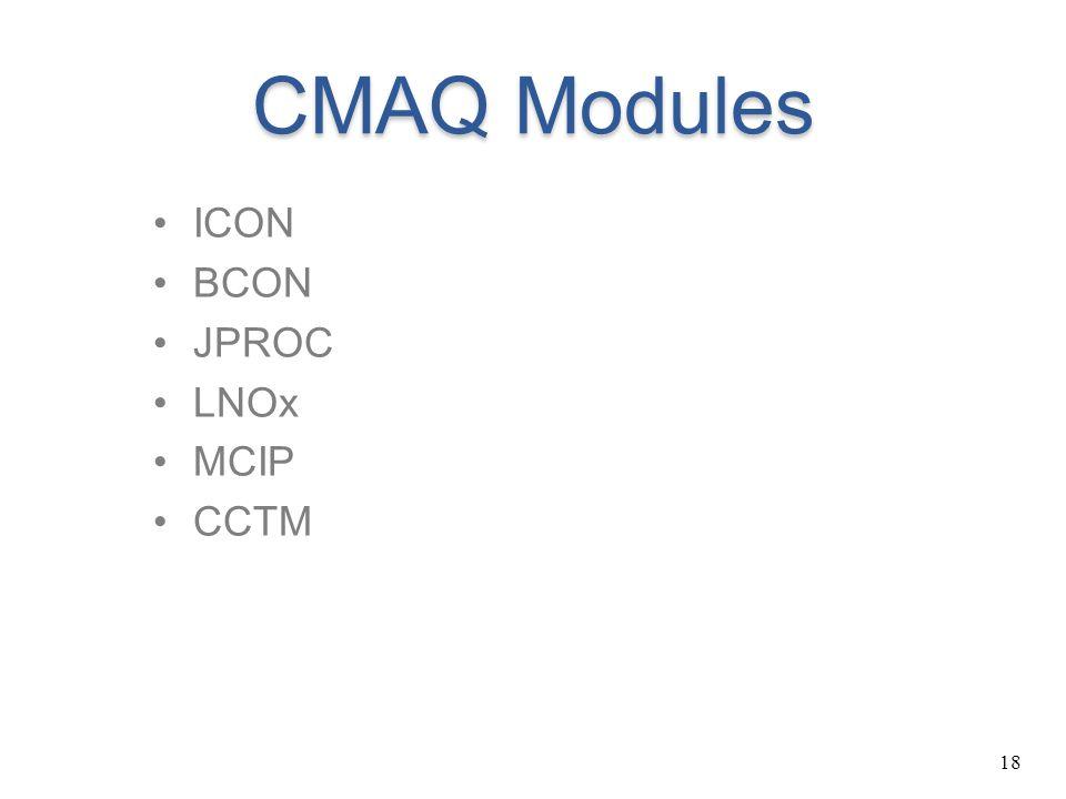 18 CMAQ Modules ICON BCON JPROC LNOx MCIP CCTM