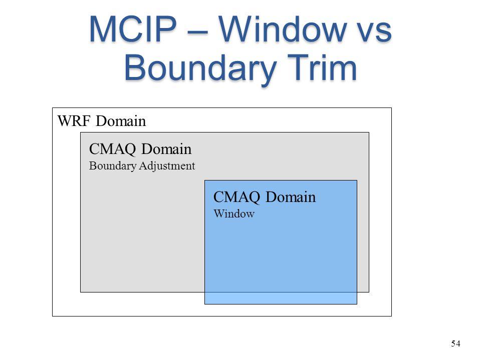 54 MCIP – Window vs Boundary Trim CMAQ Domain Boundary Adjustment WRF Domain CMAQ Domain Window