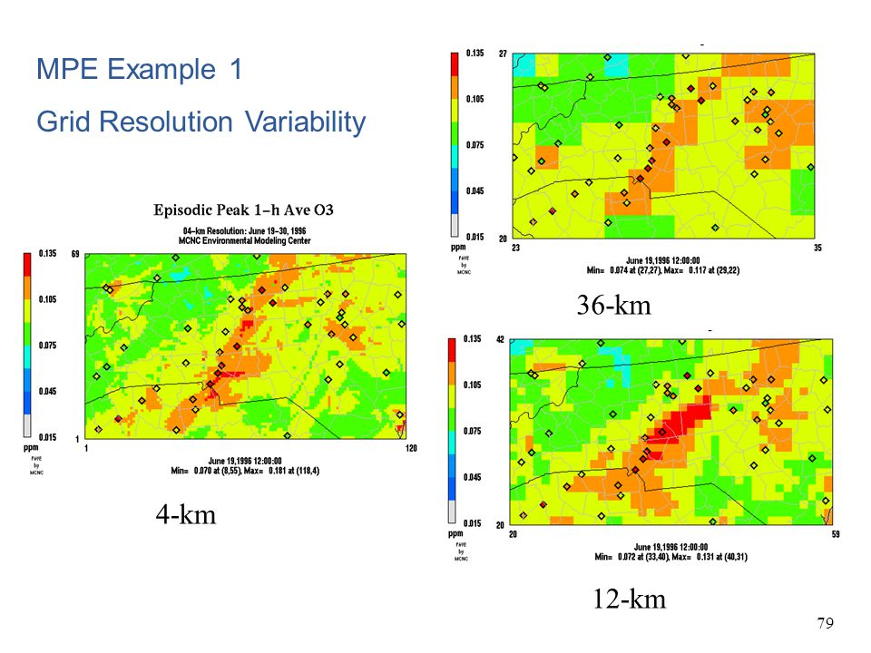 79 4-km 36-km 12-km MPE Example 1 Grid Resolution Variability
