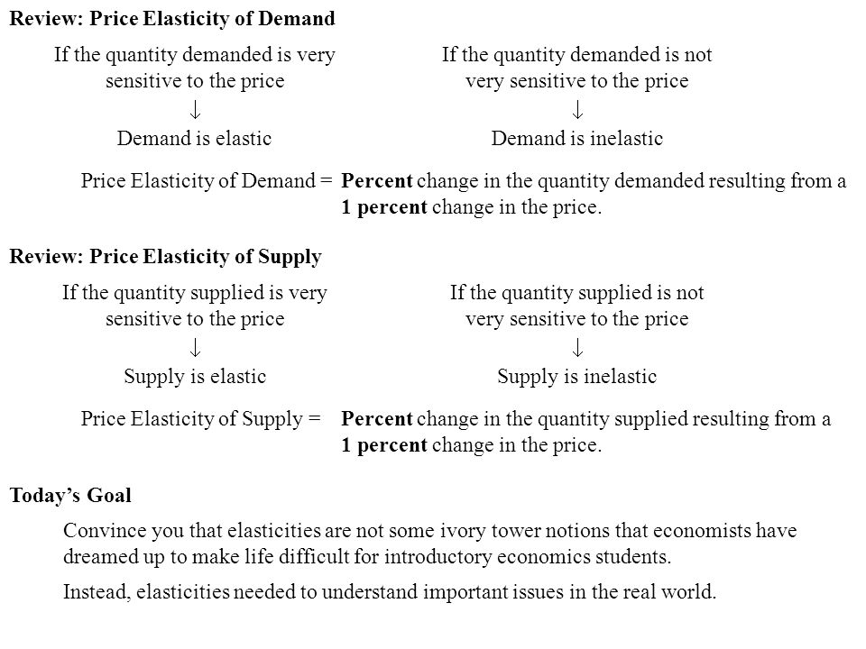 Review: Price Elasticity of Demand If the quantity demanded is very sensitive to the price  Demand is elastic If the quantity demanded is not very se
