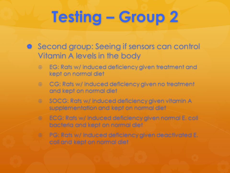 Testing – Group 2  Second group: Seeing if sensors can control Vitamin A levels in the body  EG: Rats w/ induced deficiency given treatment and kept on normal diet  CG: Rats w/ induced deficiency given no treatment and kept on normal diet  SOCG: Rats w/ induced deficiency given vitamin A supplementation and kept on normal diet  ECG: Rats w/ induced deficiency given normal E.
