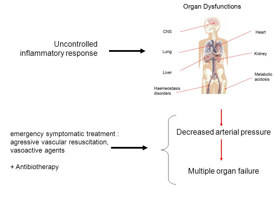 Decreased arterial pressure emergency symptomatic treatment : agressive vascular resuscitation, vasoactive agents + Antibiotherapy Uncontrolled inflammatory response Multiple organ failure