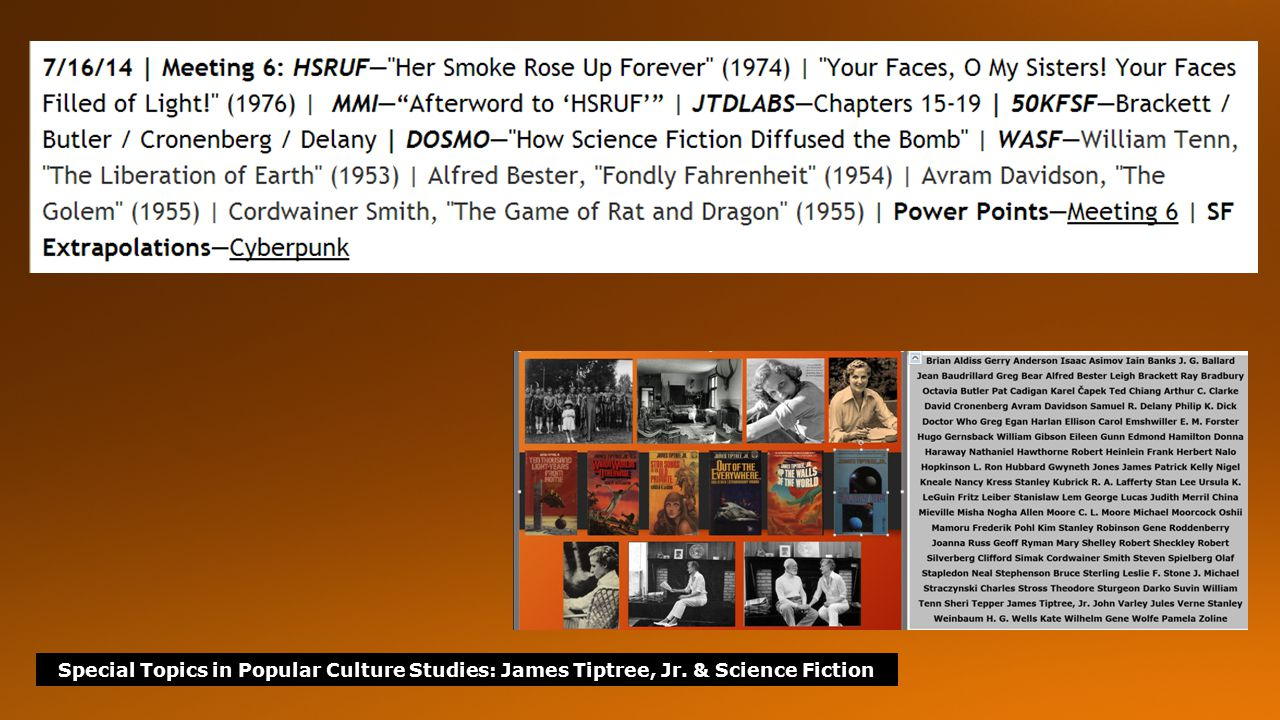 Special Topics in Popular Culture Studies: James Tiptree, Jr.