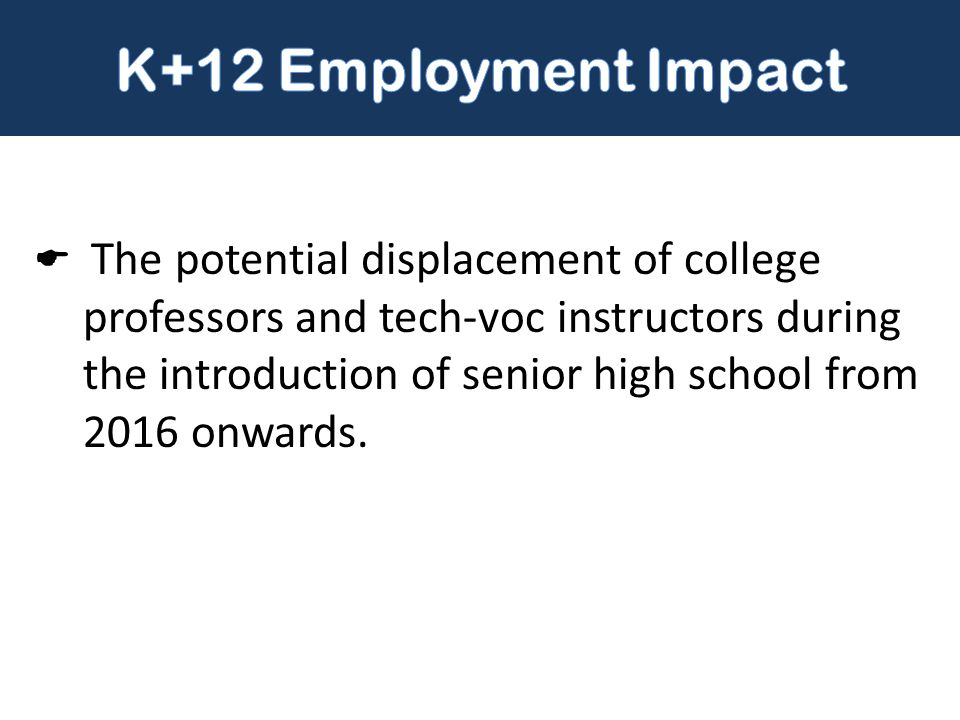  The potential displacement of college professors and tech-voc instructors during the introduction of senior high school from 2016 onwards.