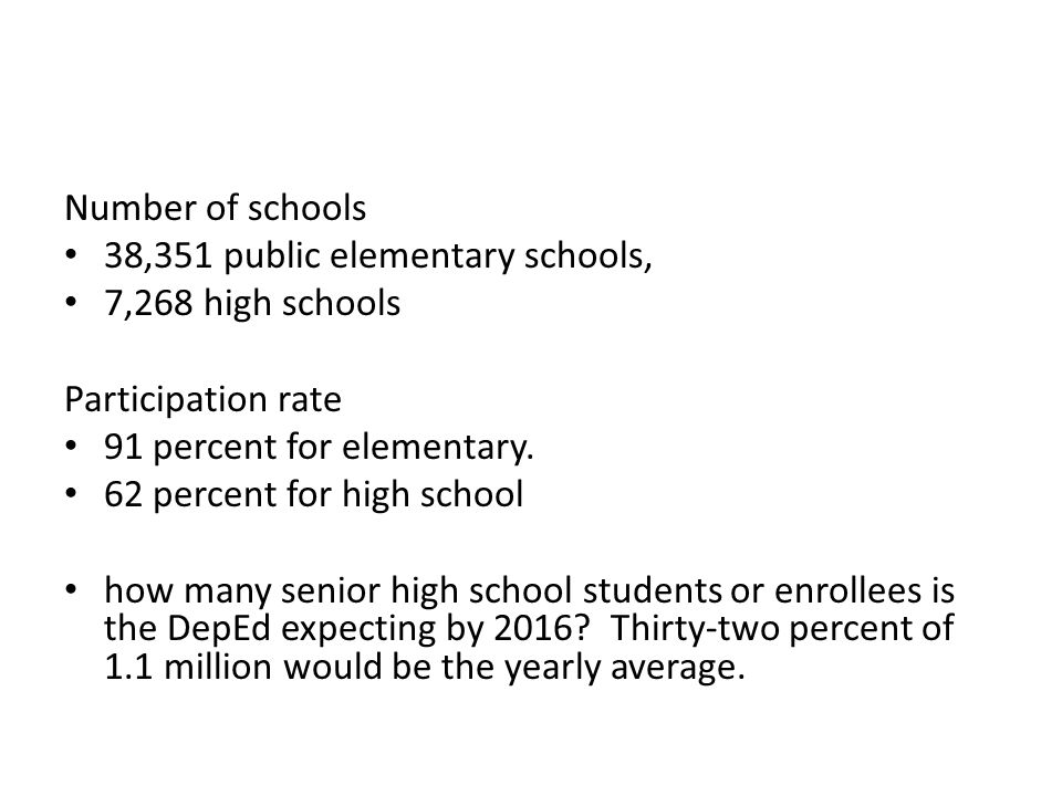 Number of schools 38,351 public elementary schools, 7,268 high schools Participation rate 91 percent for elementary. 62 percent for high school how ma