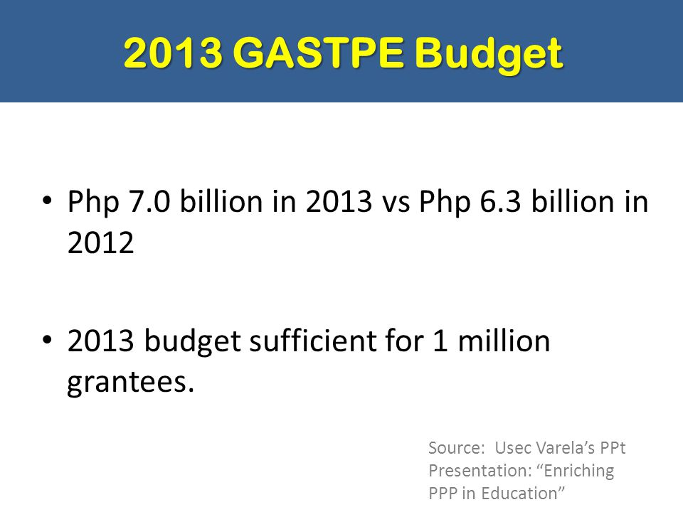 2013 GASTPE Budget Php 7.0 billion in 2013 vs Php 6.3 billion in 2012 2013 budget sufficient for 1 million grantees. Source: Usec Varela's PPt Present