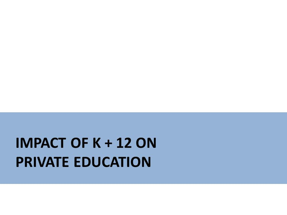 IMPACT OF K + 12 ON PRIVATE EDUCATION