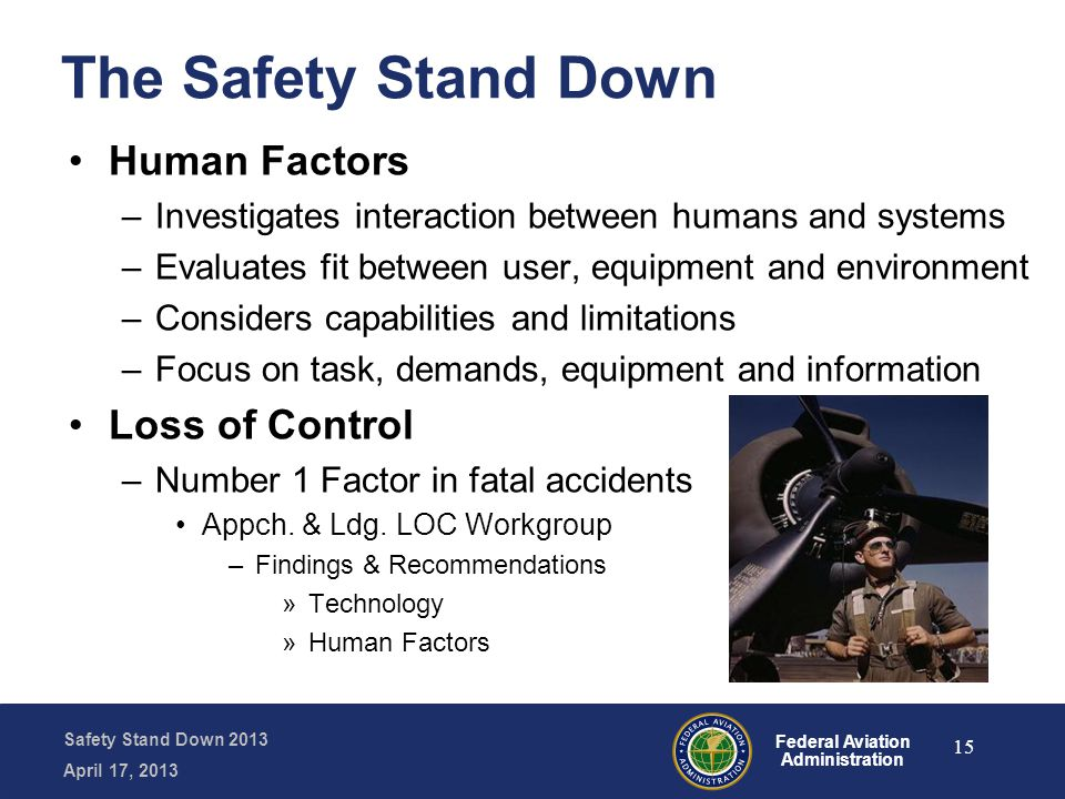 Safety Stand Down 2013 April 17, 2013 Federal Aviation Administration The Safety Stand Down Human Factors –Investigates interaction between humans and