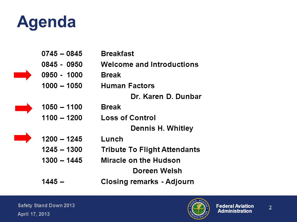 Safety Stand Down 2013 April 17, 2013 Federal Aviation Administration Long-term Memory 2 + 2 = …..