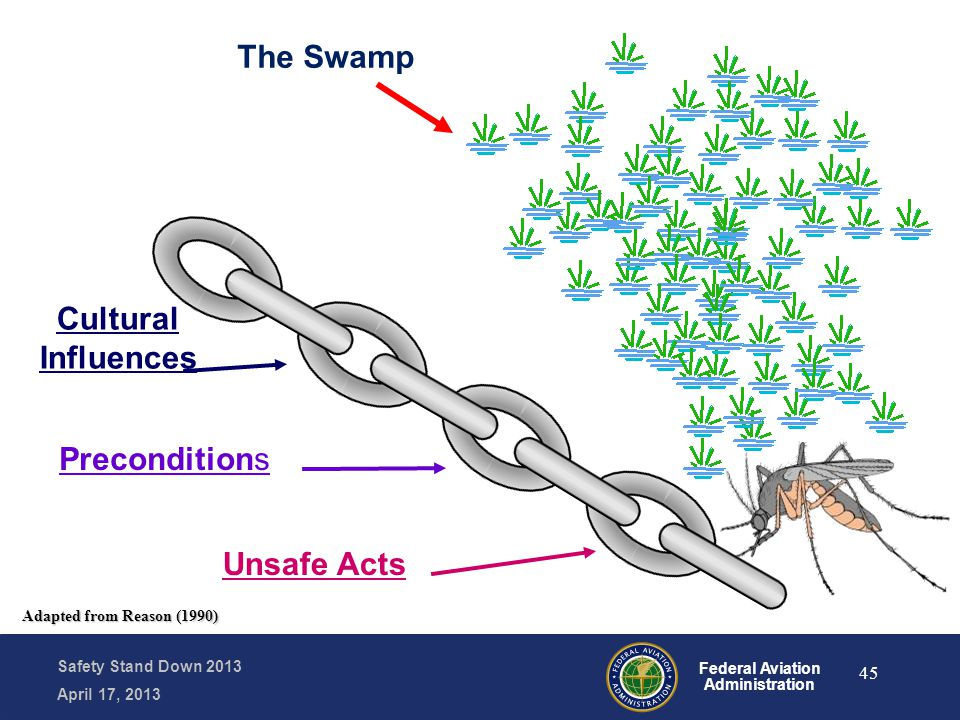Safety Stand Down 2013 April 17, 2013 Federal Aviation Administration The Swamp Unsafe Acts Preconditions Cultural Influences Adapted from Reason (199