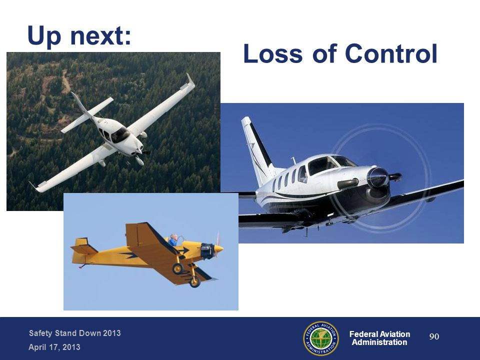 Safety Stand Down 2013 April 17, 2013 Federal Aviation Administration Up next: 90 Loss of Control